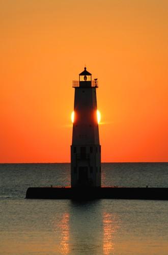 D-LH-172 - Harbor Lighthouse at sunset, Frankfort, MI.