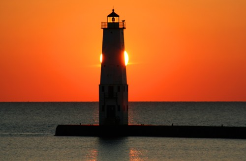 D-LH-173 - Harbor Lighthouse, Frankfort, MI, at sunset on an autumn evening