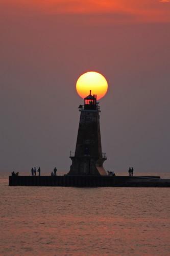 D-LH-302 - North Breakwater Lighthouse at sunset, Ludington, MI.
