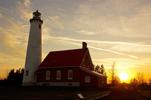 D-LH-764 - Tawas Point Lighthouse at sunset, Tawas State Park, Tawas City, MI.