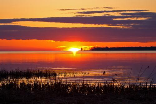 D-17-68 - Sunset over Wildfowl Bay. Mud Creek Public Access. Bay Port, MI.