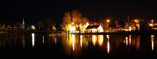 D-HB-183 - Municipal Harbor at Night. Caseville, MI. (Works best as a panorama. Contact photographer for details.)