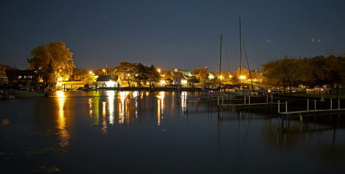D-HB-550 - Municipal Harbor at Night. Caseville, MI. (Works best as a panorama. Contact photographer for details.)